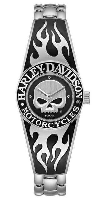Harley-Davidson Womens Flames Willie G Skull Stainless Steel Bangle Watch