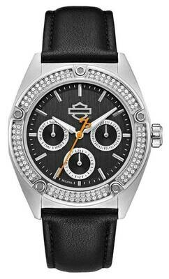 Harley-Davidson Women's Crystal Embellished Stainless Steel Case Watch