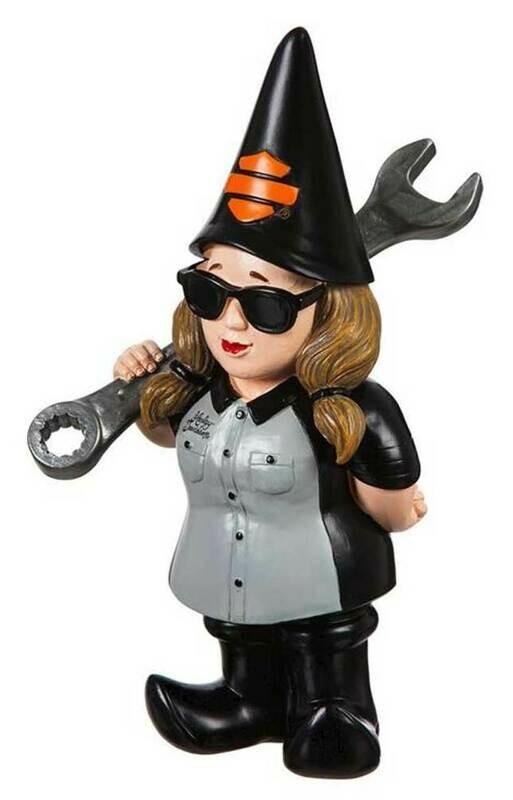 *NEW* Harley-Davidson® Mechanic Lady Polystone Garden Gnome