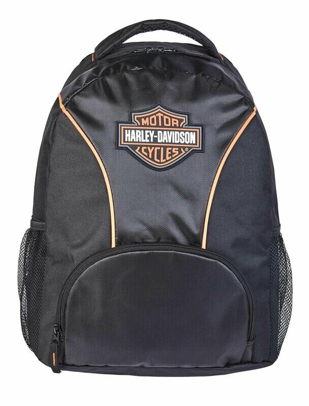 Harley-Davidson B&S Logo Black Polyester Backpack