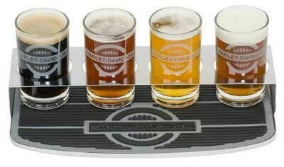 Harley-Davidson Rider Tasting Flight Glass Set w/ Bar Mat & 4 Glasses