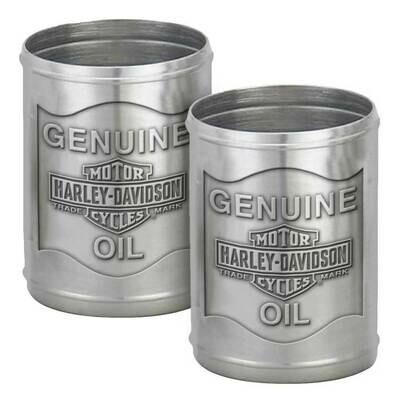 Harley-Davidson Custom Tooled Pewter Oil Can Shot Glass Set - 2.3 oz.