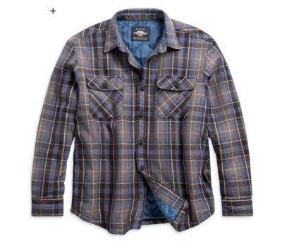Men's Quilted Lining Plaid Shirt Jacket - Slim Fit