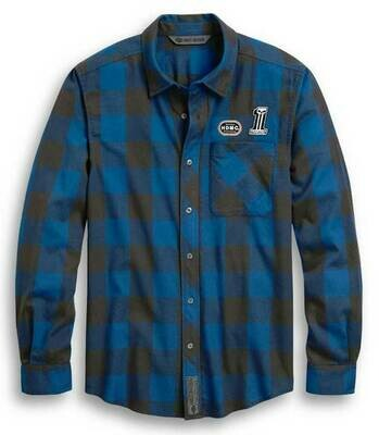 Harley-Davidson Men's Slim Fit #1 Skull Buffalo Plaid Shirt, Blue