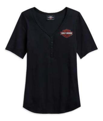 Women's short sleeved Logo Henley