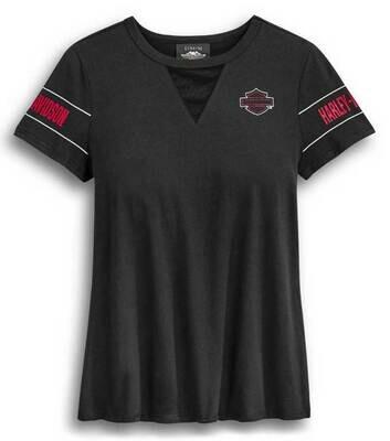 Harley-Davidson Women's Mesh V-Neck Short Sleeve T-Shirt - Black