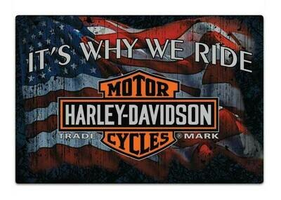 Harley-Davidson Why We Ride Embossed Flag Tin Sign, 17 x 12.5 inches