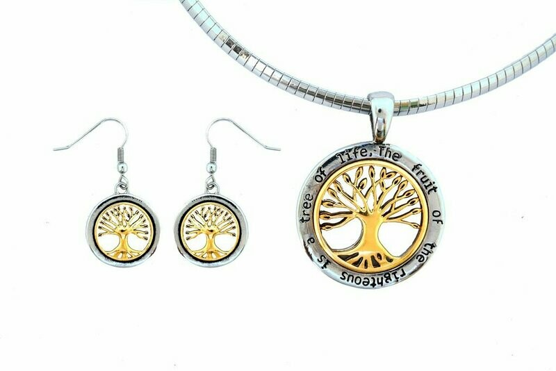 Tree Of Life Pendant Matching Earrings With Omega Necklace