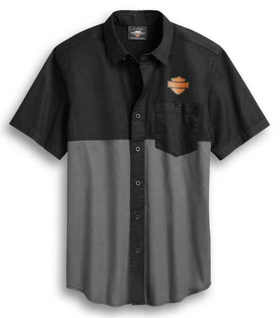 Harley-Davidson Men's Colorblocked Racing Short Sleeve Woven Shirt