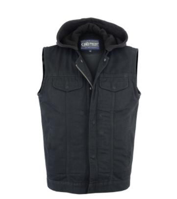 Men's Black Denim Single Back Panel Concealment Vest w/Removable Hood