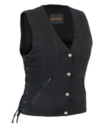 Women's Single Back Panel Concealed Carry Denim Vest