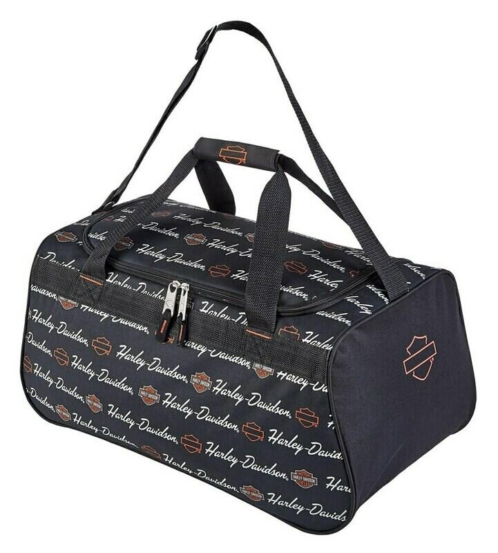 Harley-Davidson® Signature Script Sports Duffel Bag w/ Adjustable Strap - Black