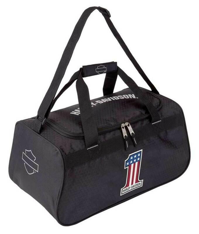 Harley-Davidson® #1 RWB Logo Sports Duffel Bag w/ Strap - Black