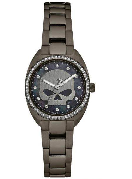 Harley-Davidson® Women's Crystal Willie G Skull Watch, Gunmetal Finish