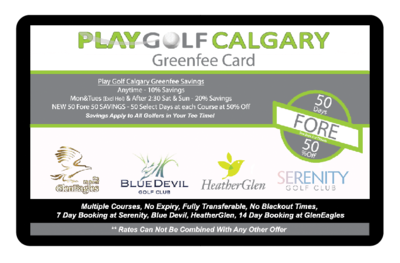 Play Golf Calgary Greenfee Card 37