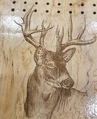 2 Track Cribbage Board w/deer engraving