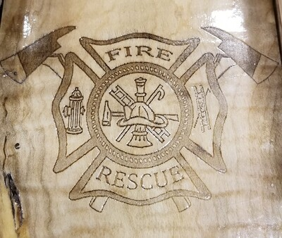 2 Track Cribbage Board w/fire engraving