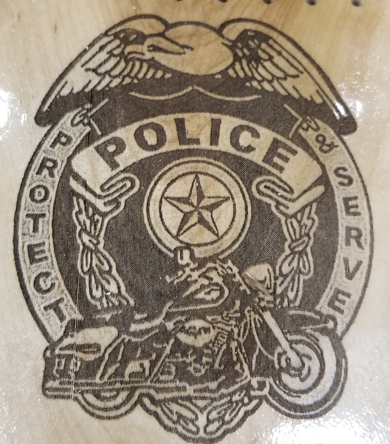 2 Track Cribbage Board w/police Engraving