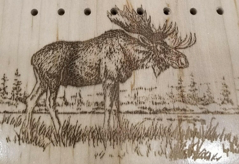 3 Track Cribbage Board w/moose engraving