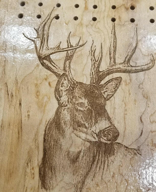 3 Track Cribbage Board w/deer engraving