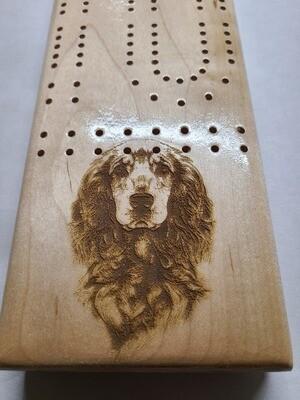 2 Track Cribbage Board w/cocker spaniel engraving