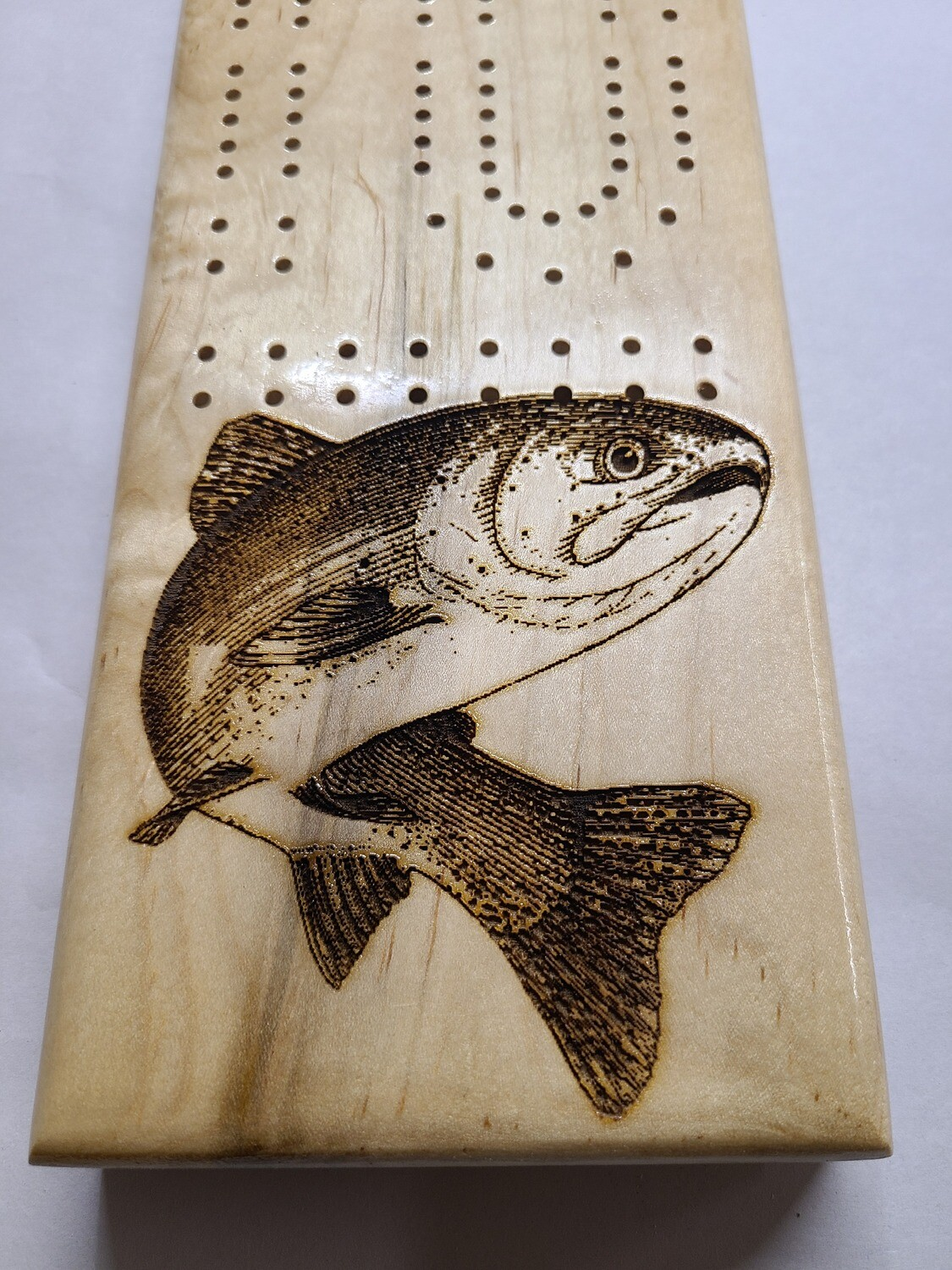 2 Track Cribbage Board w/trout engraving