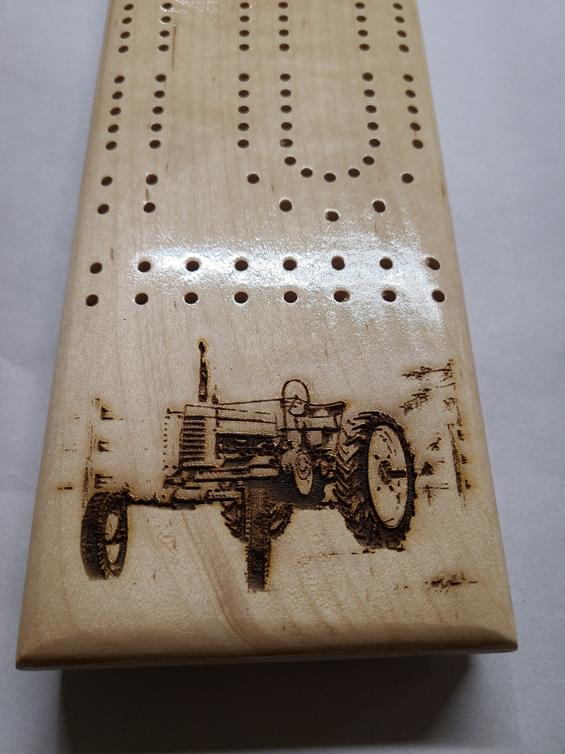 2 Track Cribbage Board w/tractor engraving