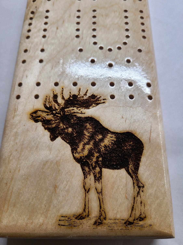 2 Track Cribbage Board w/moose engraving
