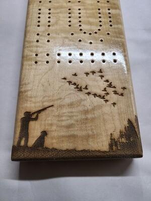 2 Track Cribbage Board w/hunting scene engraving