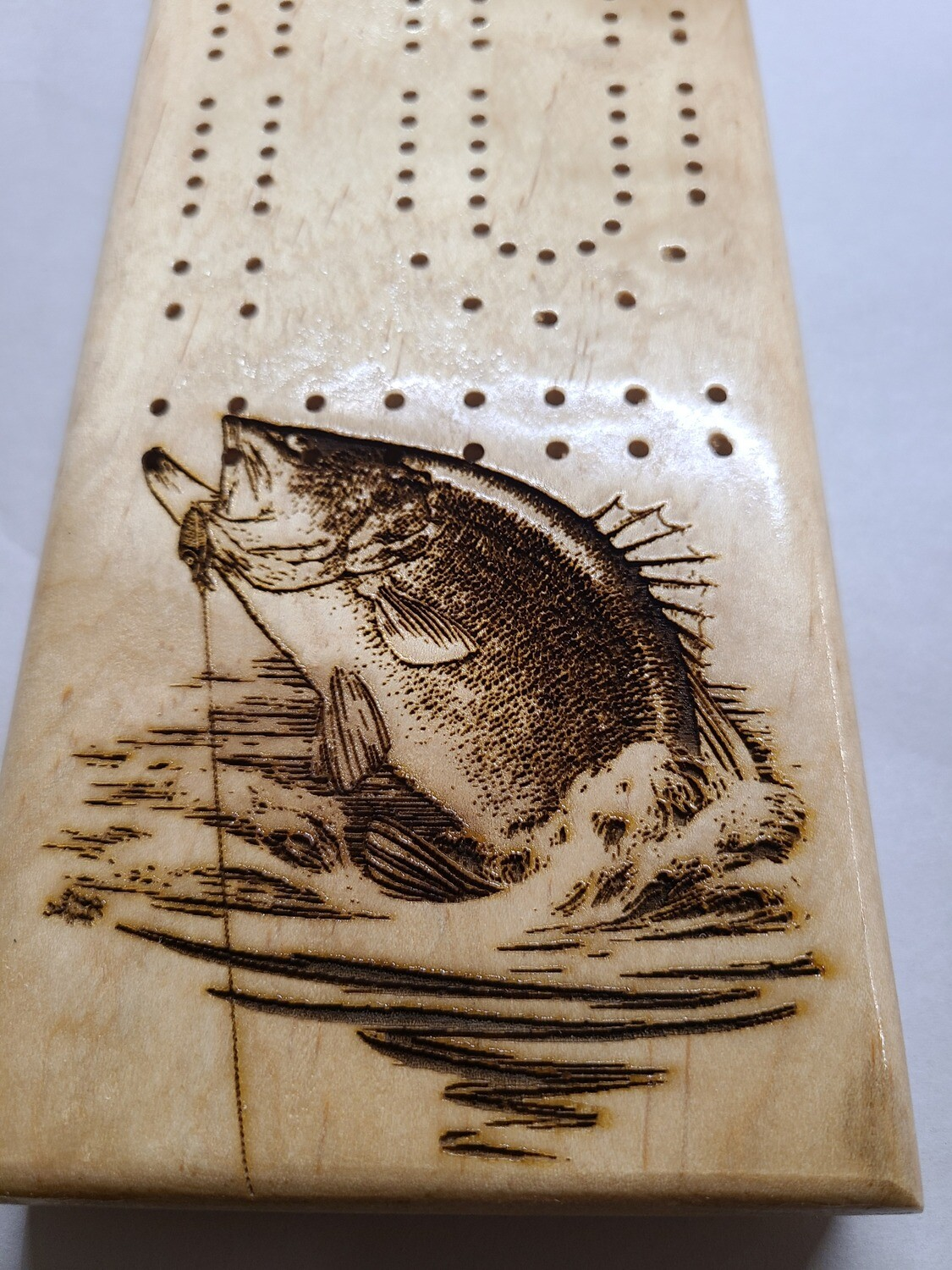 2 Track Cribbage Board w/small mouth bass engraving