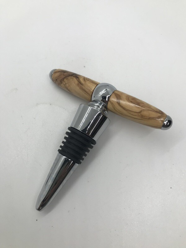 T handle wine bottle stopper and corkscrew