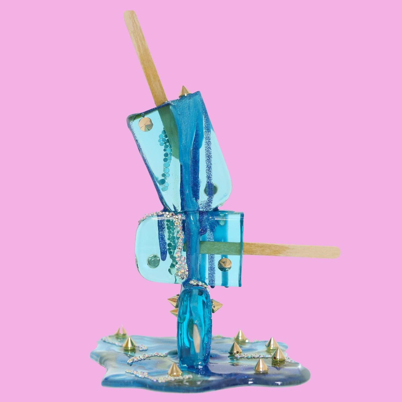 Melting Popsicle Art - Aqua Spike Stack - Original Melting Pops™