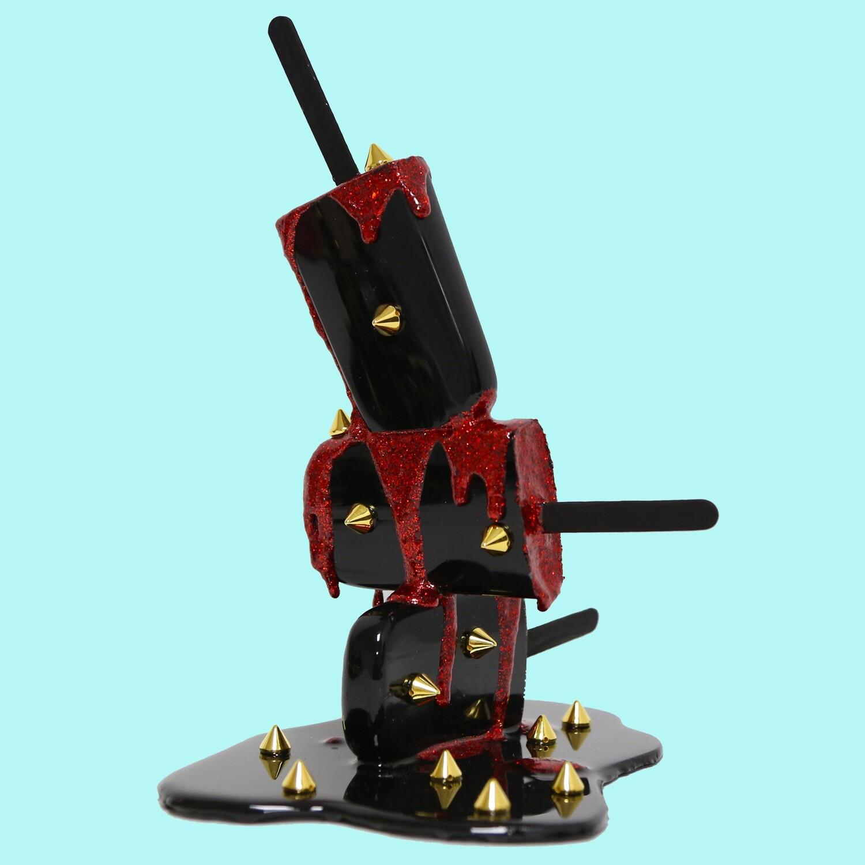 Melting Popsicle Art - Black & Red Spike Stack - Original Melting Pops™