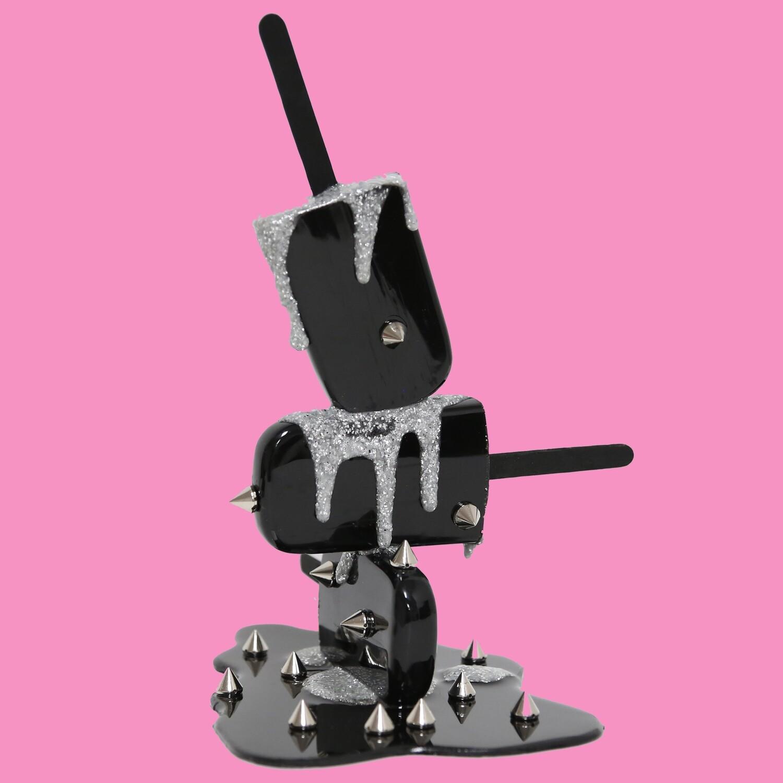 Melting Popsicle Art - Black & Silver Spike Stack - Original Melting Pops™
