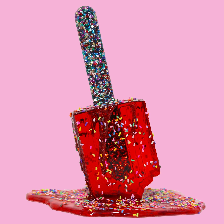 Melting Popsicle Art - Bigger Red Sprinkle Pop - Original Melting Pops™