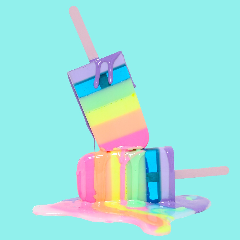 Melting Popsicle Art - Pastel Rainbow Stack