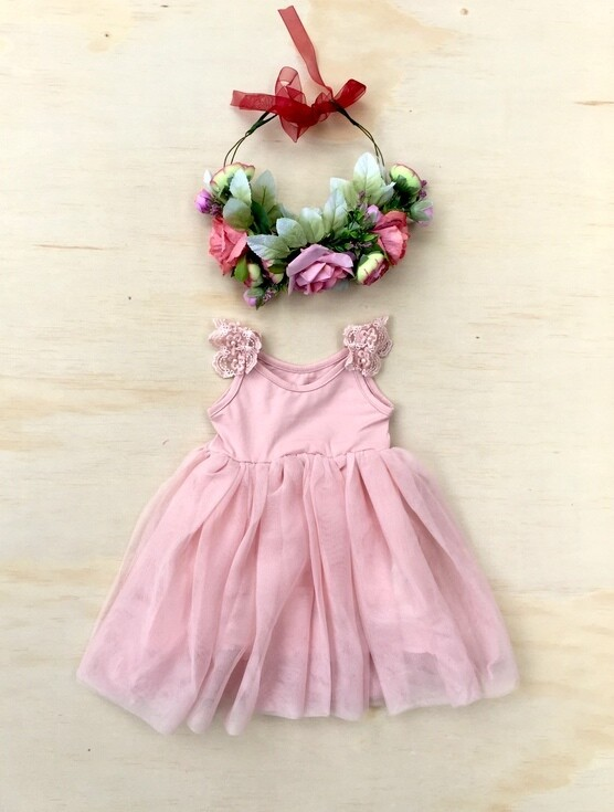 Enchanted Angel Tutu Dress | Dusky Pink