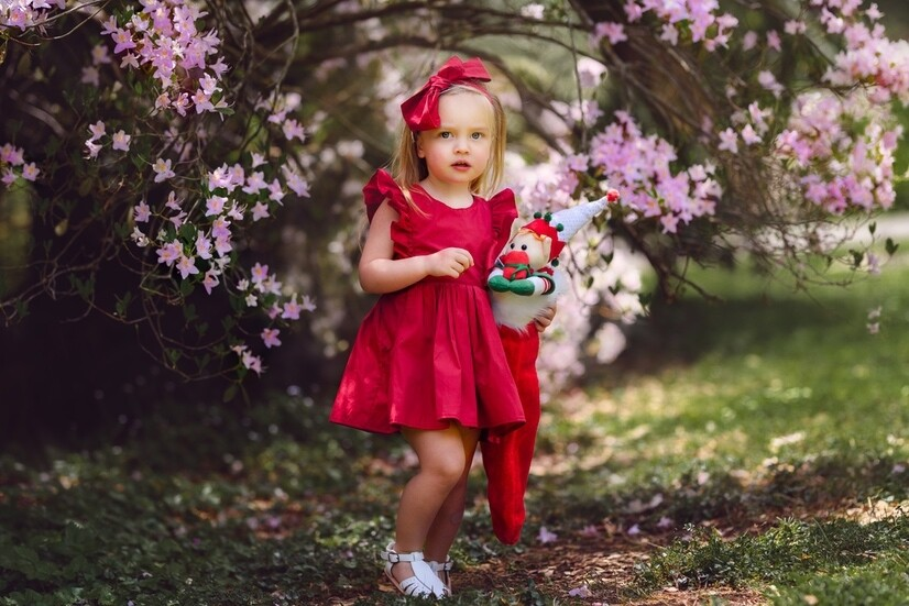 RUBY Girls Christmas Dress | Rich Red | PREORDER