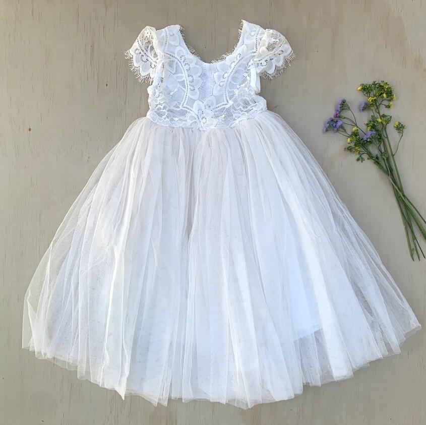 Harmony Dress | V Back Cap Sleeves | Ivory