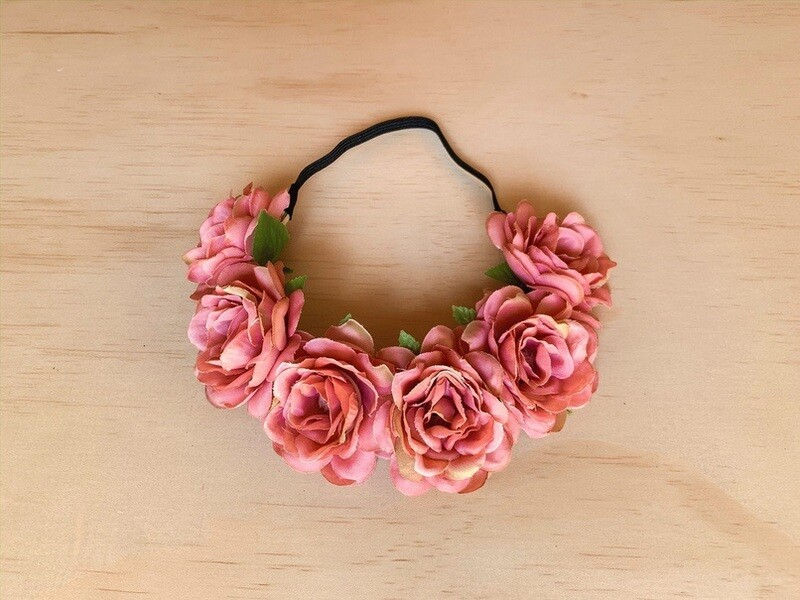 Sasha Dusty Pink Rose Headband