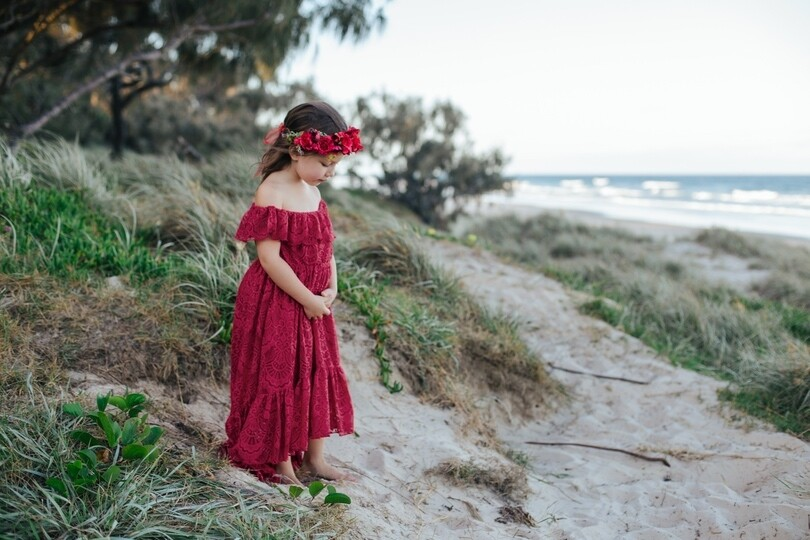 AUBRIE Boho Flower Girls Dress | Wine