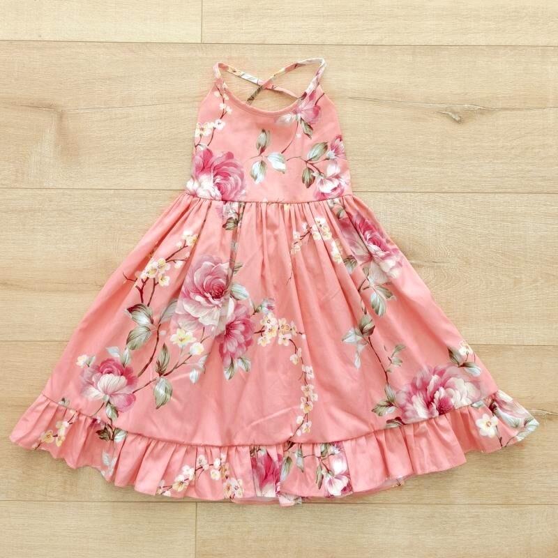 Elsie Girls Dress   Coral Blossom