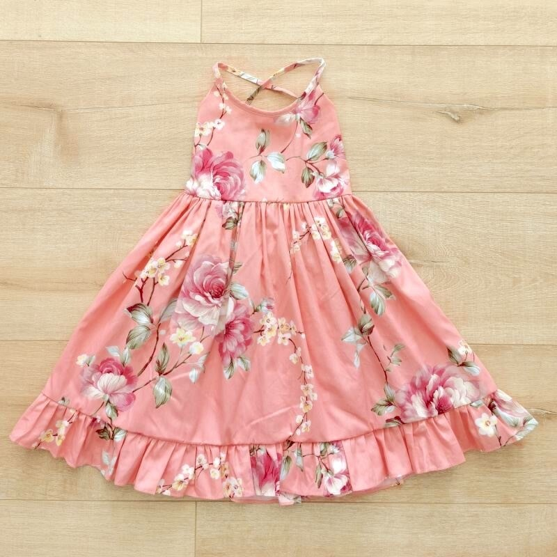 Elsie Girls Dress | Coral Blossom