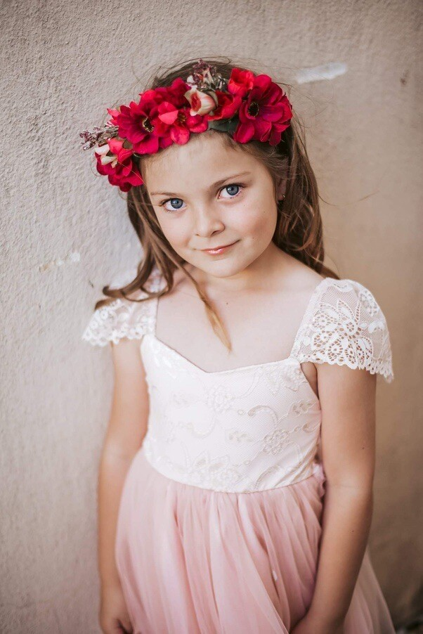Angelika Girls Dress   Blush