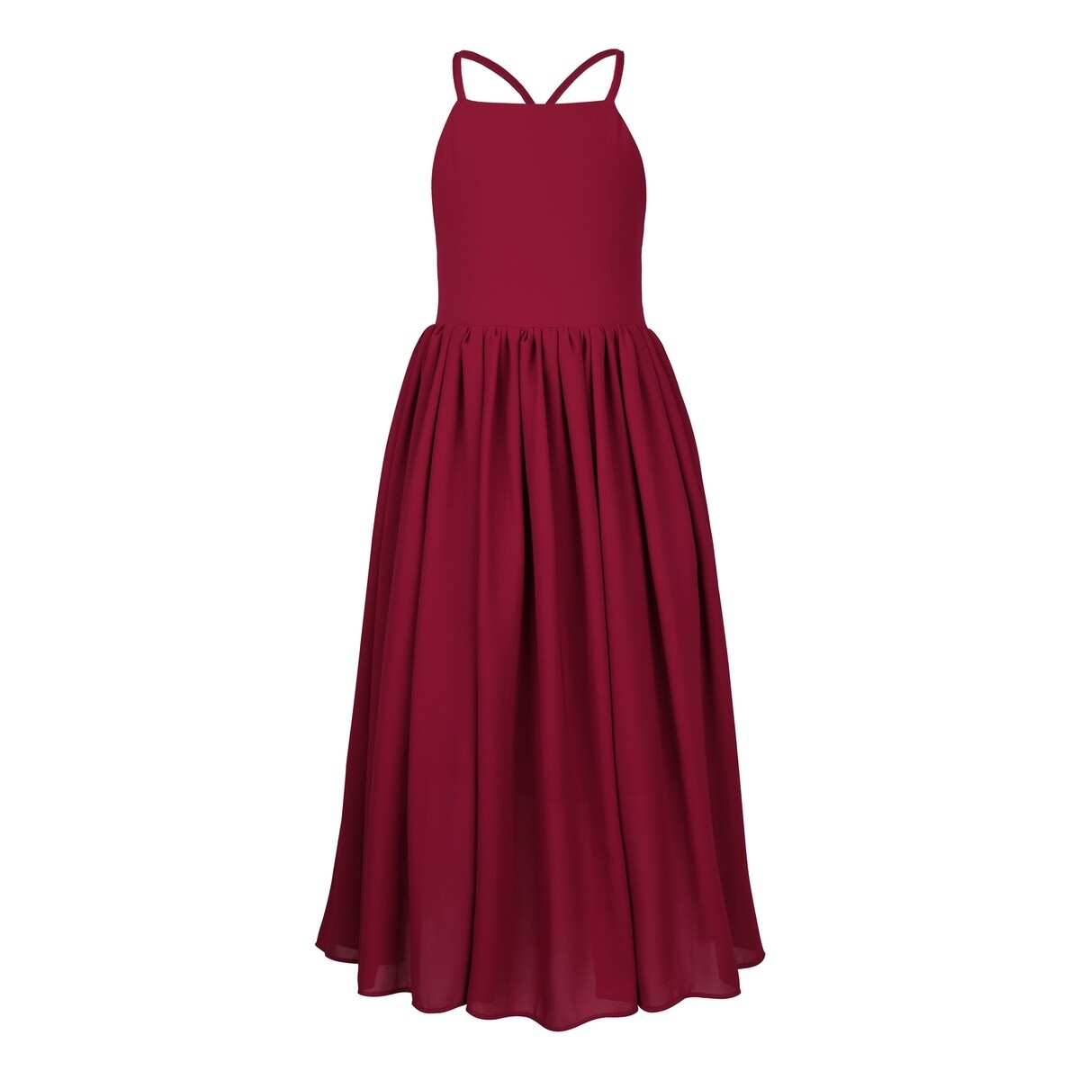 Sofia French Chiffon Dress | Wine