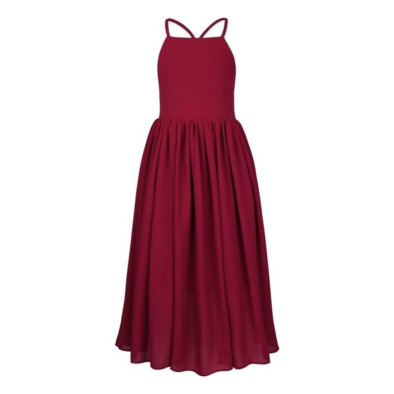 Sofia French Chiffon Dress | Wine
