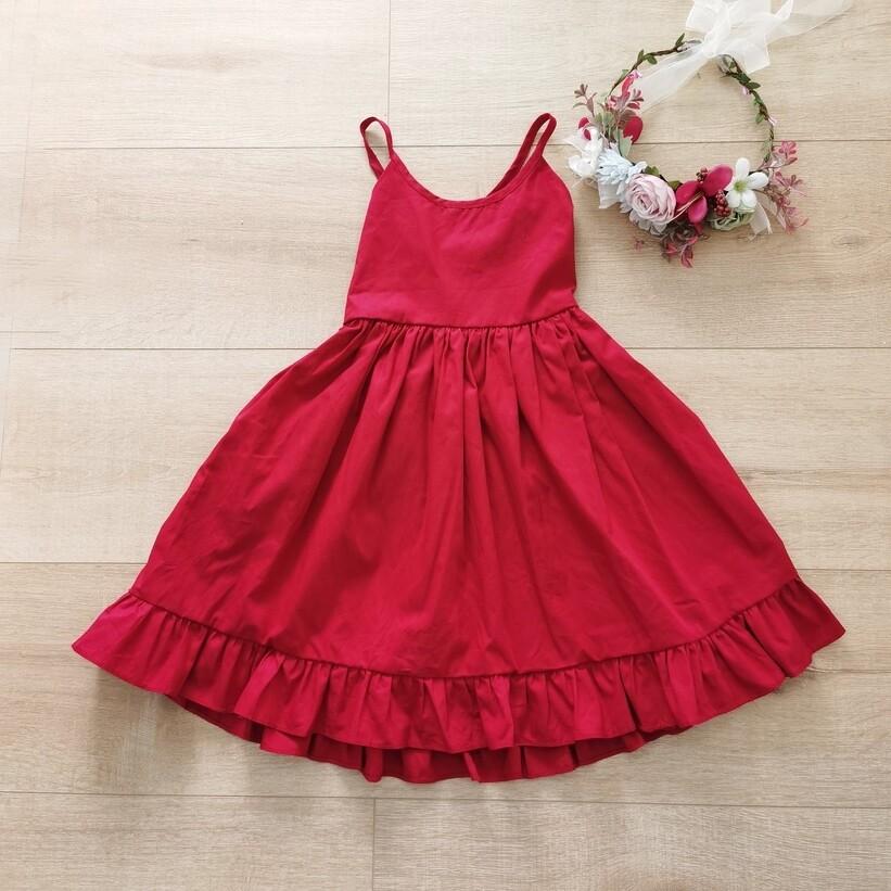 Elsie Girls Dress   Ruby Red