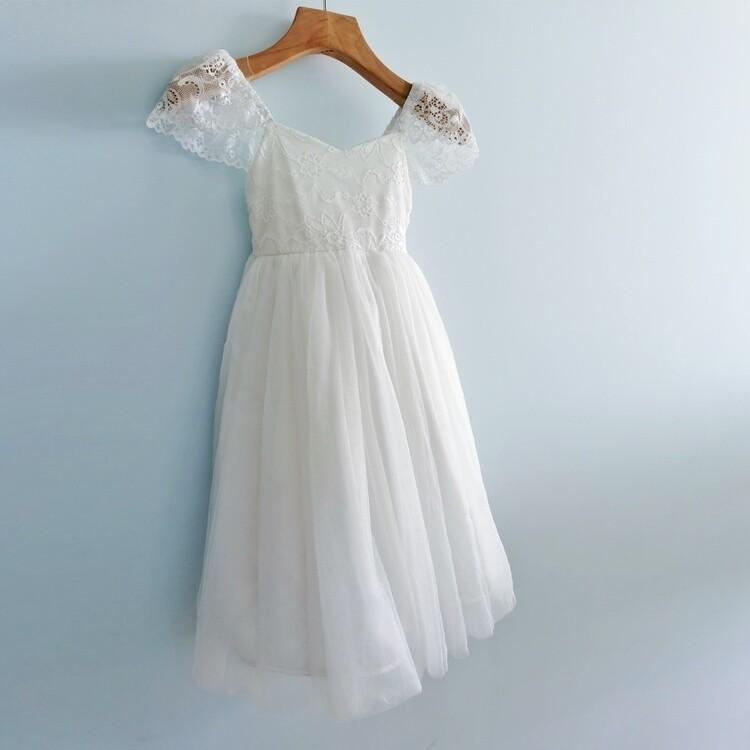 Angelika Girls Dress | White