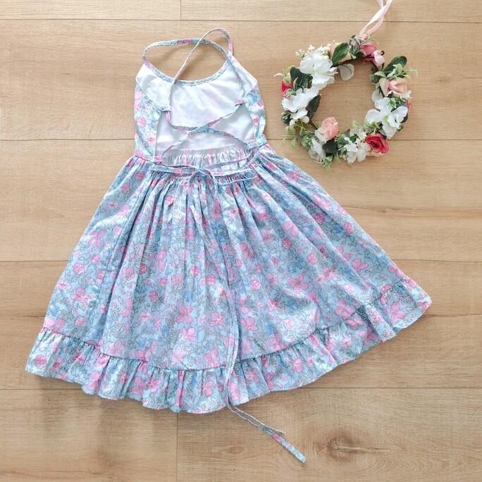 Elsie Girls Dress   Daisy Blue