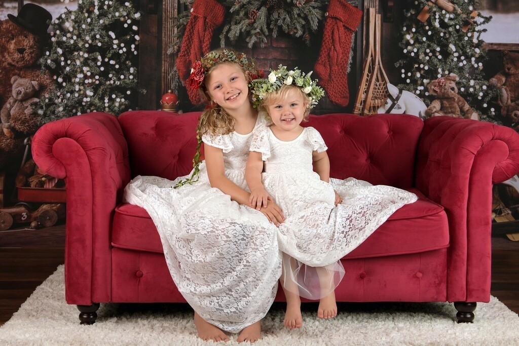 Delilah Girls White Lace Dress